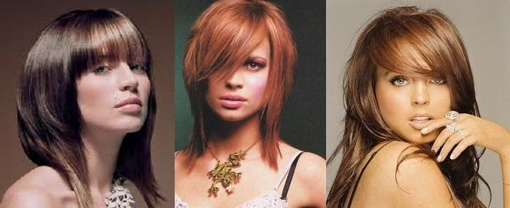 стрижки на средние волосы косая челка