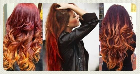 техника омбре на рыжие волосы